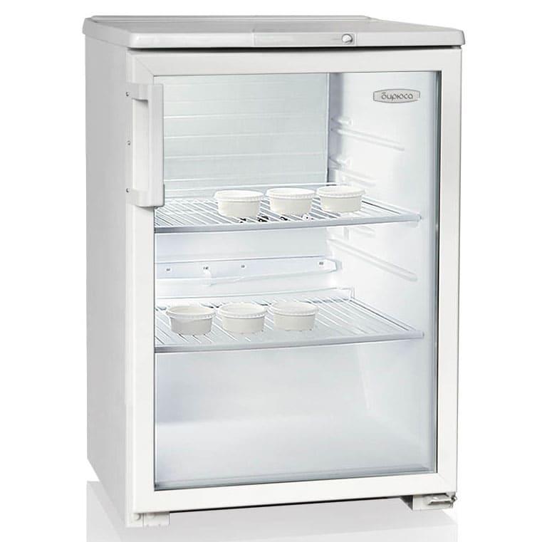 Барный холодильник в аренду 150 л Бирюса, температурный режим от +1...+10C, с подсветкой, белый цвет, витринного типа