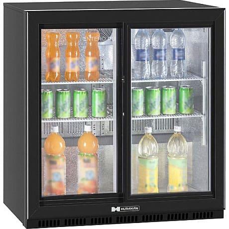 Барный холодильник в аренду 185 л Hurakan двухдверный купе, температурный режим от +1...+10C, с подсветкой, черный