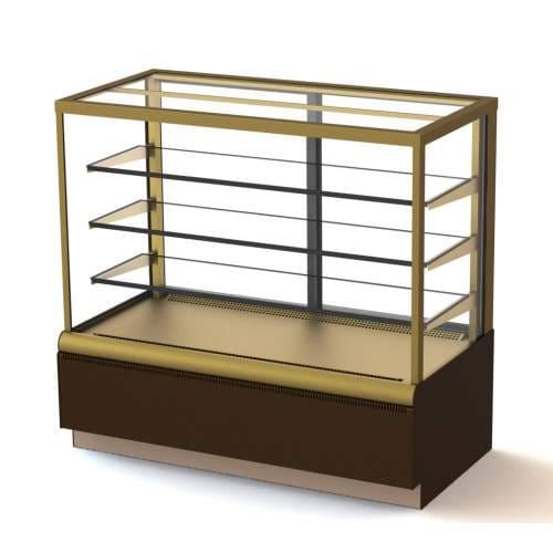Кондитерская витрина в аренду Полюс Carboma Cube 0.9D, температурный режим от +6...+12C, ширина 920 мм, золотистая